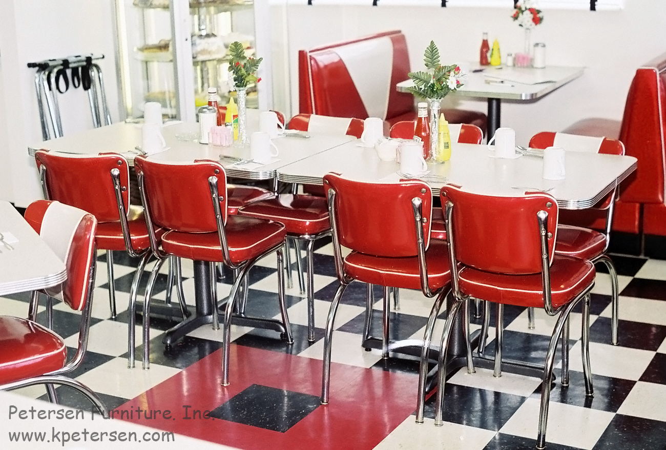 Diner Chairs, Polished, Grooved Aluminum Diner Tables