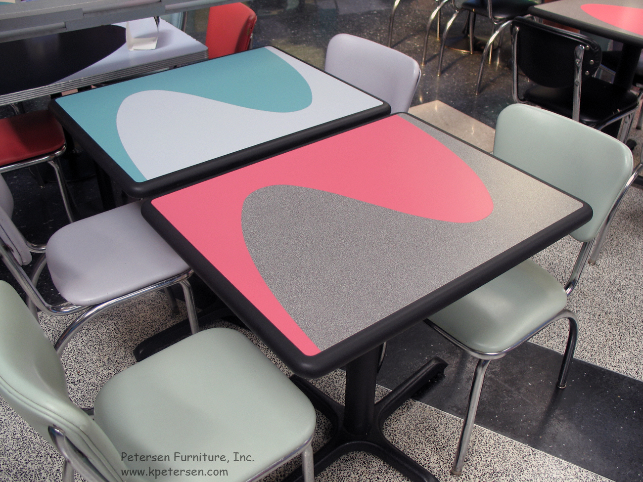 Diner Table Plastic Laminate Two Color Inlay